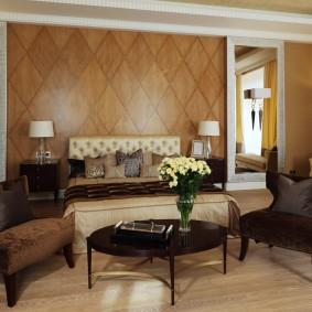 стена за кроватью в спальне фото дизайна