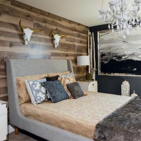 стена за кроватью в спальне фото идеи