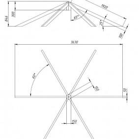 Схема стропильной фермы шестиугольной беседки