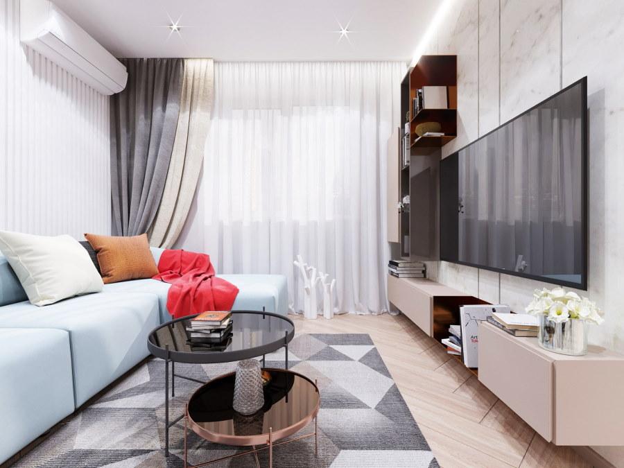 Модульные шкафчики на стене гостиной в 2-х комнатной хрущевке