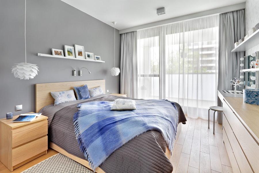 Меблировка спальной комнаты в серых тонах