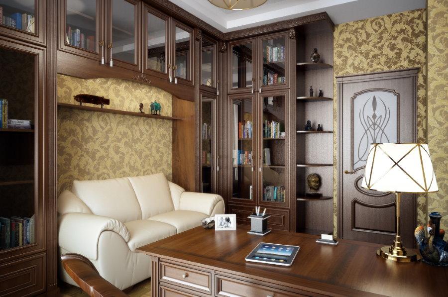 Деревянная мебель коричневого цвета в домашнем кабинете