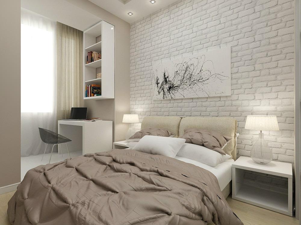 Обои под белый кирпич в небольшой спальне