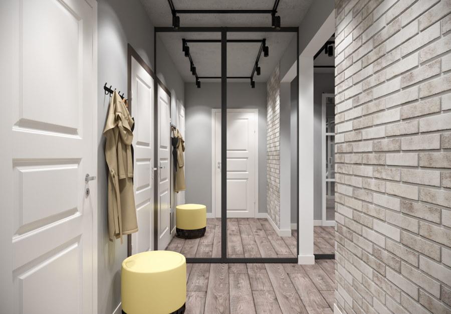 Кирпичная отделка стены в коридоре лофт стиля
