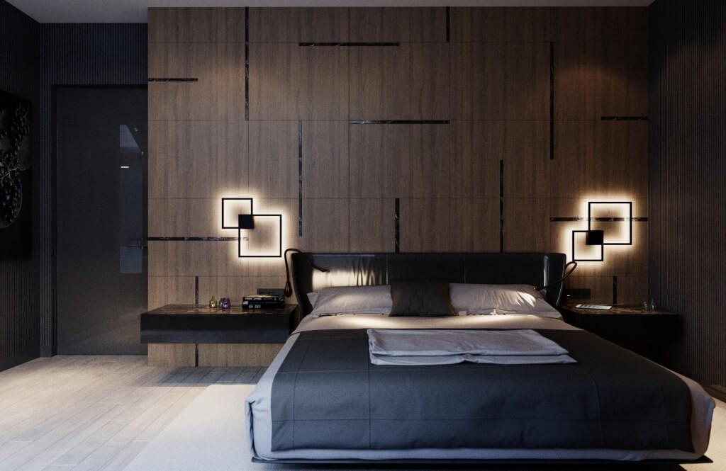 Оригинальные светильники в темной спальне стиля хай-тек