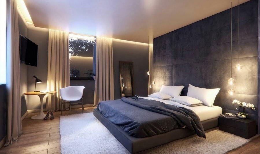 Эффектная подсветка потолка в спальной комнате