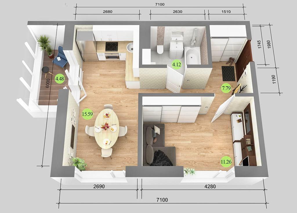 Проект однокомнатной квартиры типовой планировки