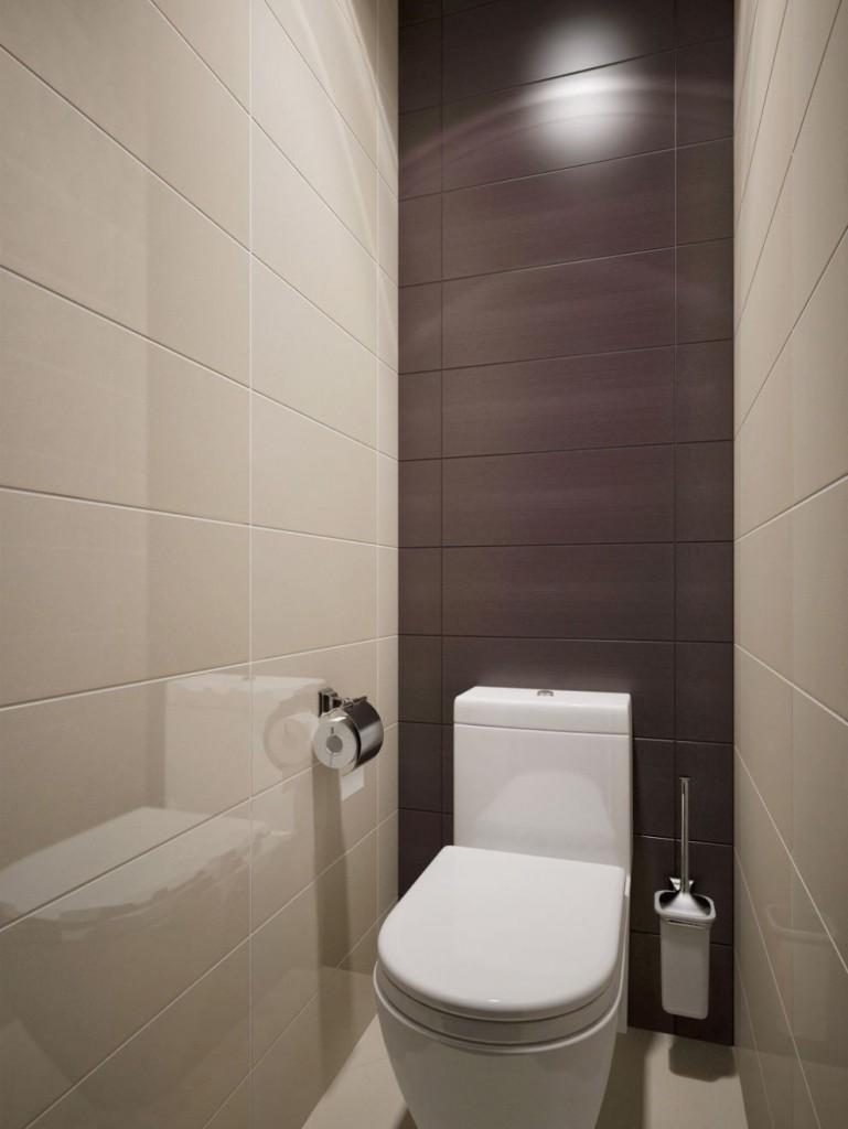 Коричневая плитка на акцентной стене в туалете