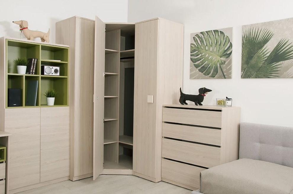 Корпусной угловой шкаф в небольшой гостиной