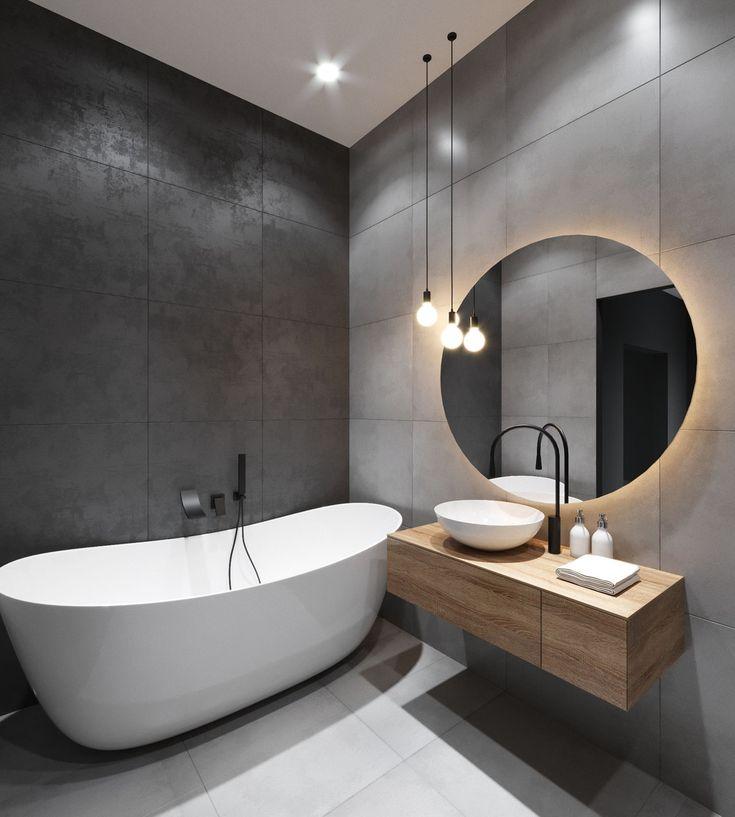 Квадратная ванная комната в стиле модерн