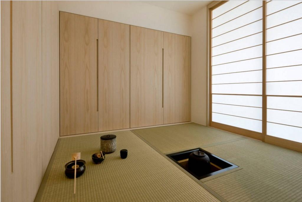 Шкафы в интерьере гостиной в японском стиле