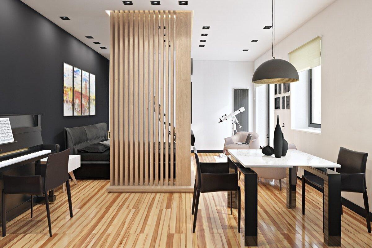 зонирование комнат деревянной перегородкой идеи