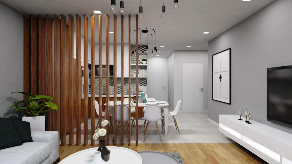 зонирование комнат деревянной перегородкой