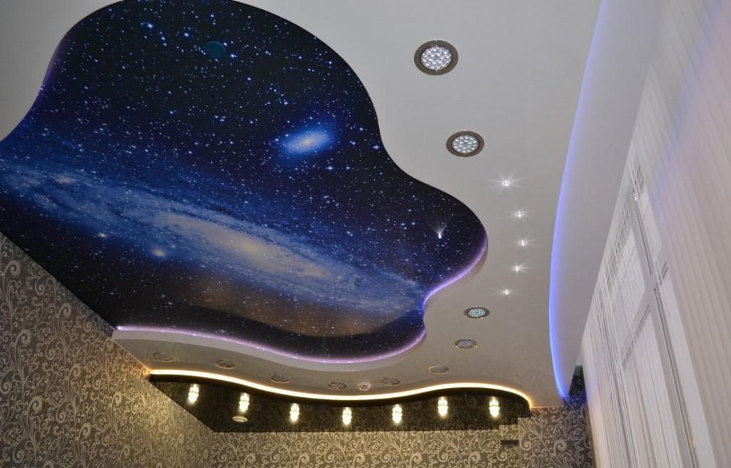 Потолок звездное небо в детской спальне