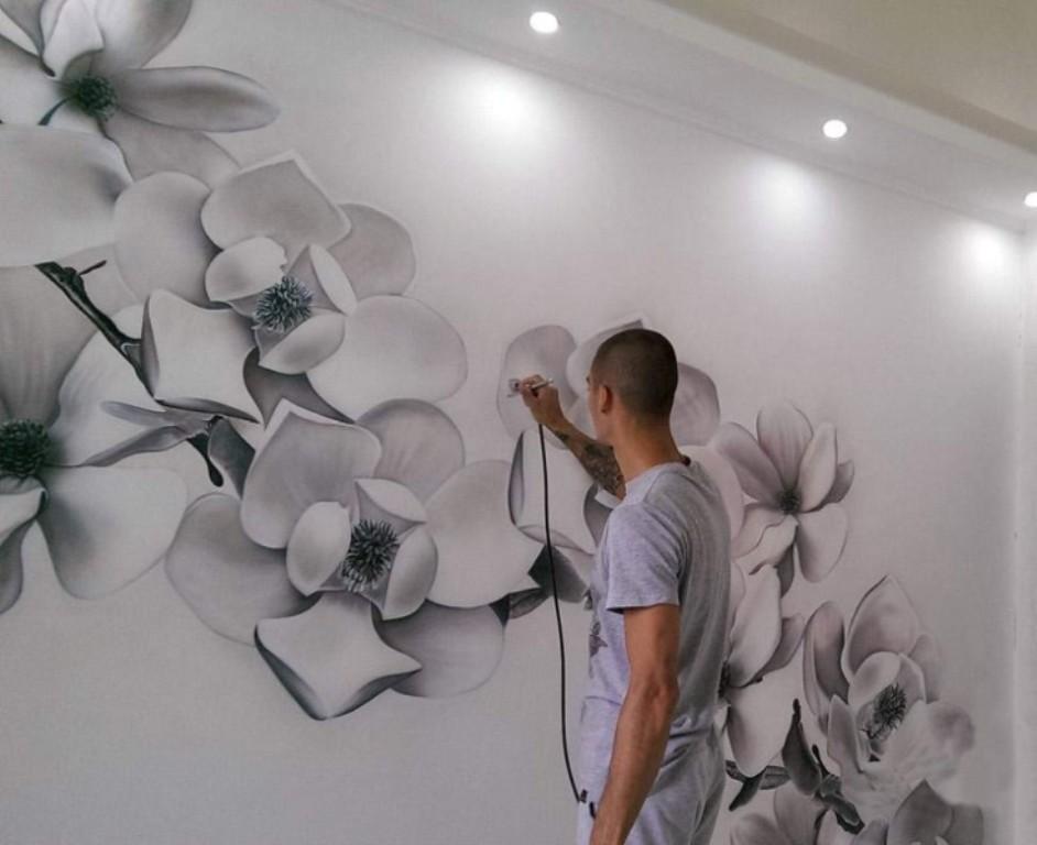 3д рисунки на стене комнаты