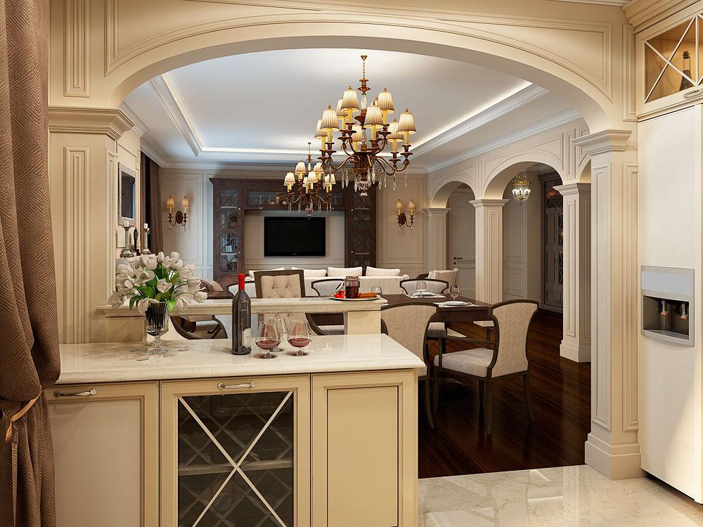 Арочный проем между кухней и гостиной комнатой