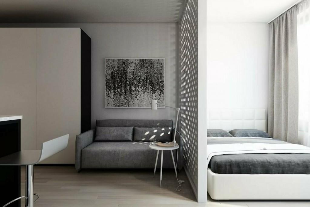 Меблировка спальни-гостиной в стиле минимализма