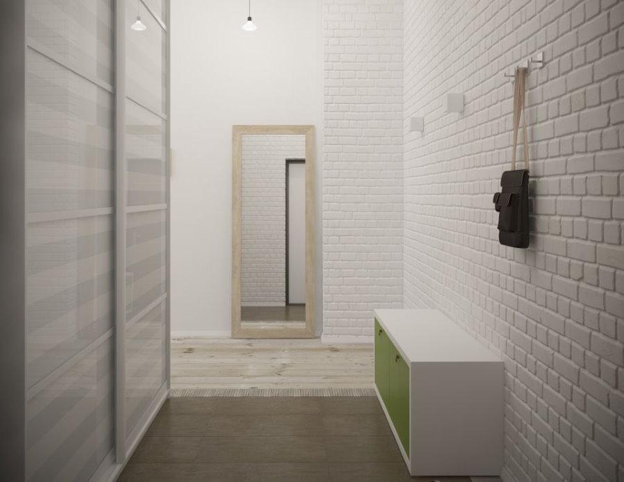 Декоративный кирпич в интерьере коридора в стиле минимализма