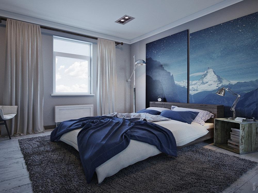 Мужская спальня с акцентными фотообоями