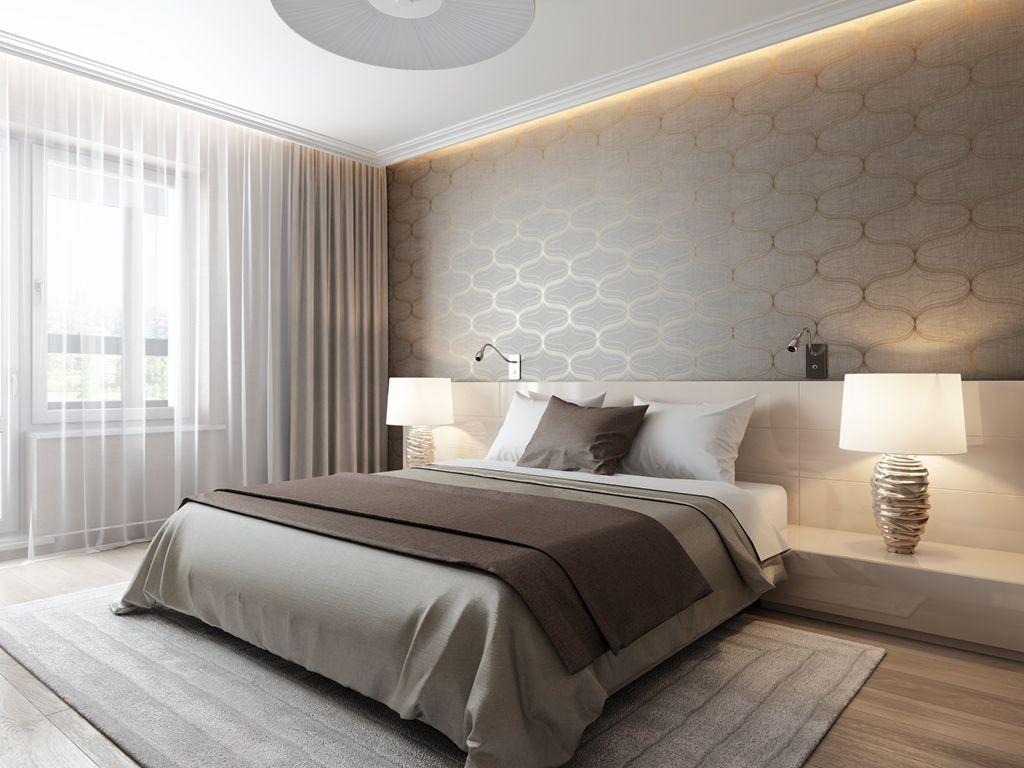 Квадратная спальня в бежевых оттенках