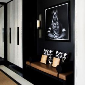 чёрно белая прихожая декор фото