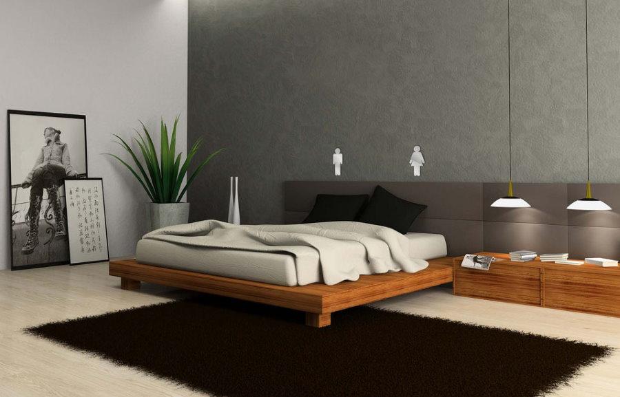 Деревянная кровать в спальне стиля минимализма