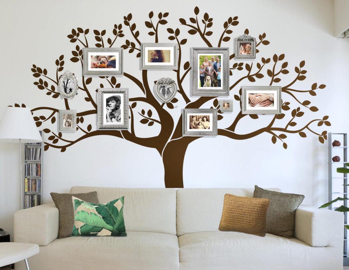 декор стен семейные фотографии