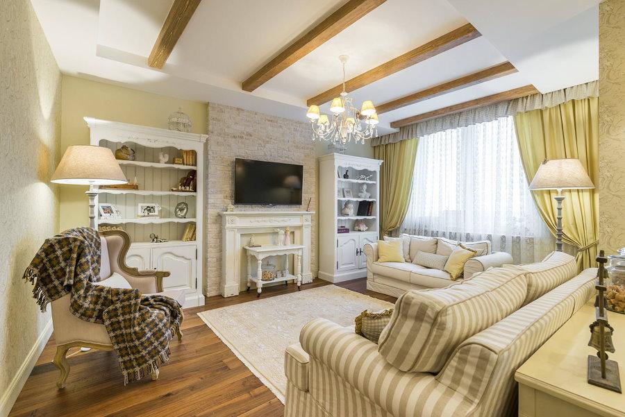Меблировка квадратной гостиной в стиле прованс