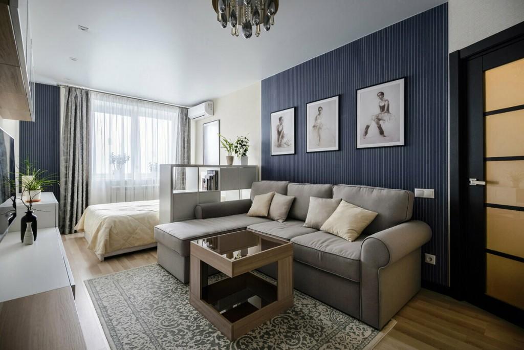 Зонирование цветом однокомнатной квартиры