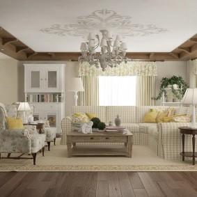 дизайн освещения в гостиной прованс