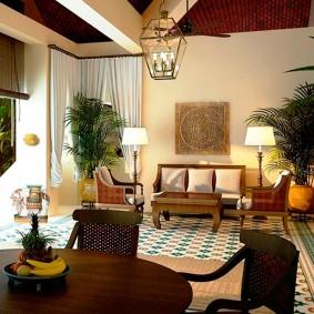 дизайн освещения в экзотичной гостиной