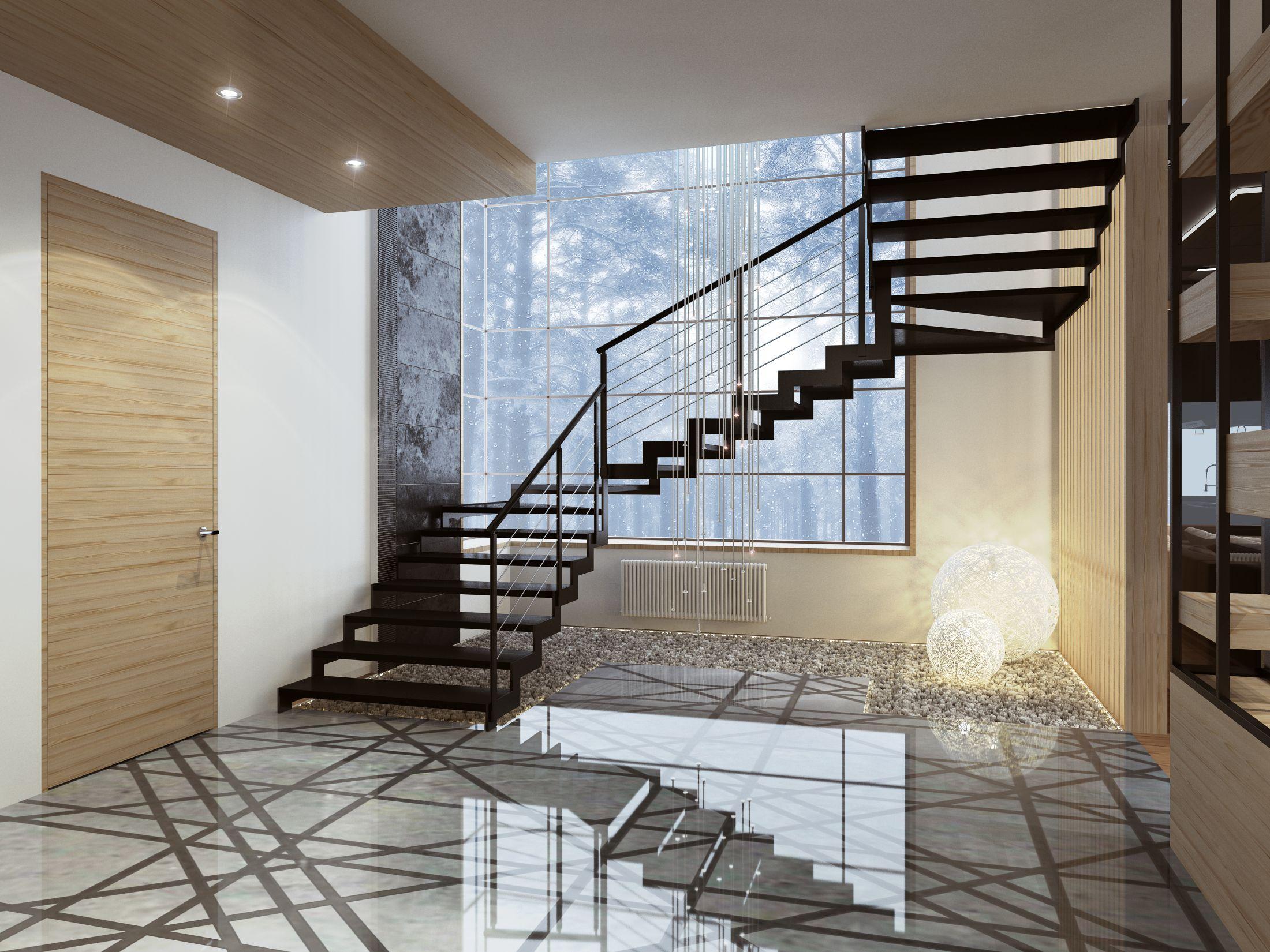 прихожая с лестницей в частном доме