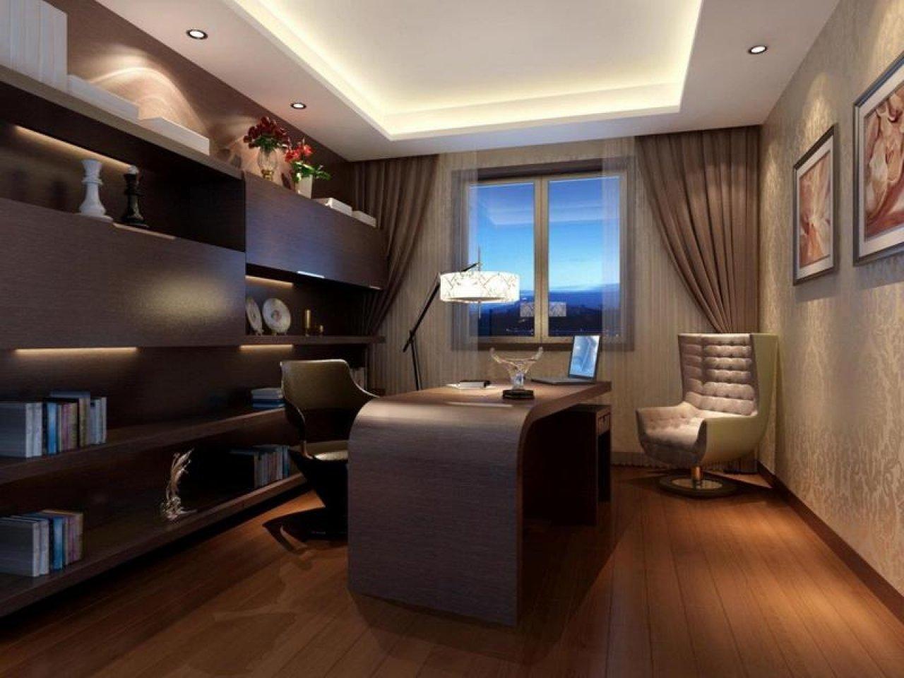 дизайн прямоугольного кабинета