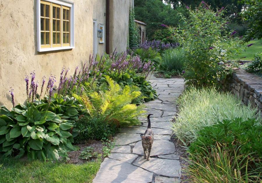 Садовая тропинка из плоского камня светлого цвета