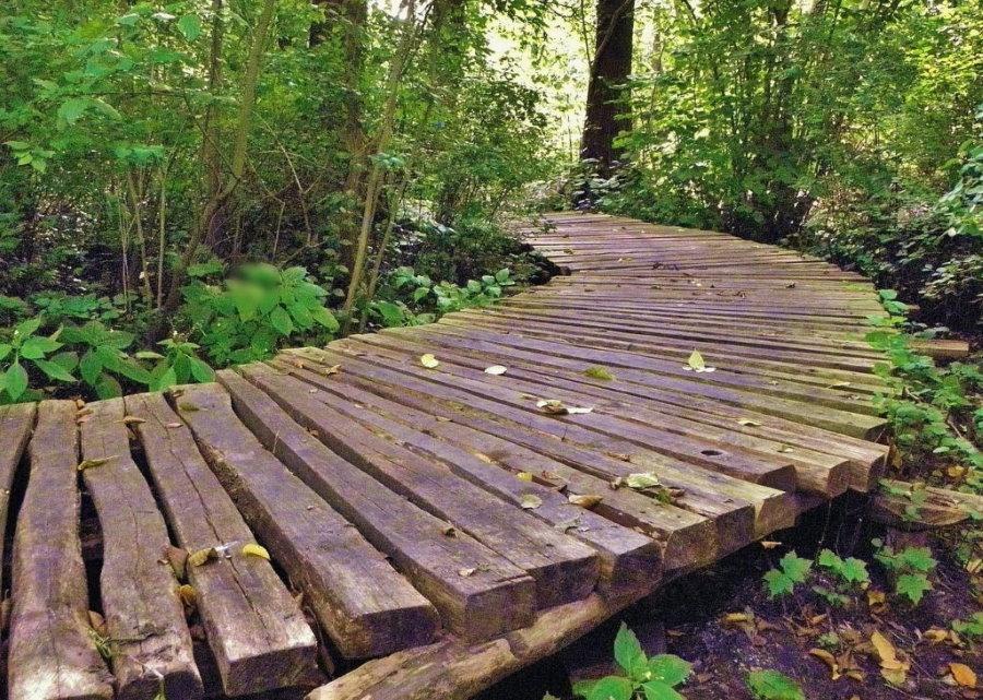 Настилаемая деревянная дорожка из толстых досок