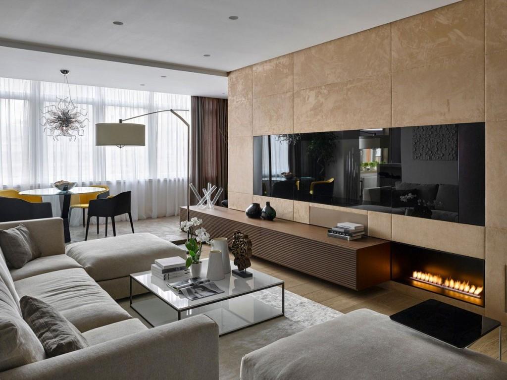 Встроенная плазменная панель в гостиной современной квартиры