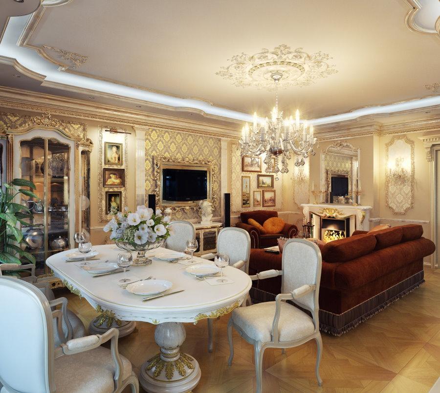 Гостиная-столовая в большой квартире классического стиля