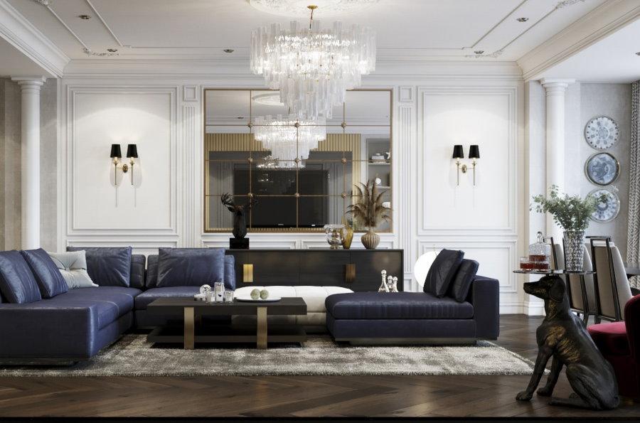 Гостиная комната в неоклассическом стиле в квартире