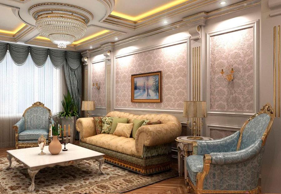 Фото отделки стен в элитной квартире классического стиля