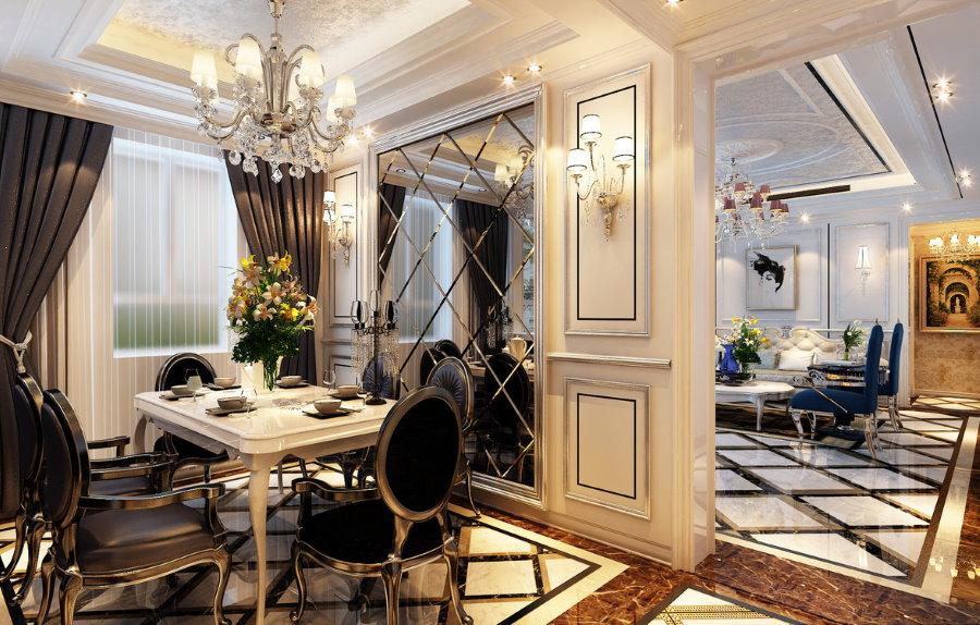 Столовая комната в квартире элитного класса