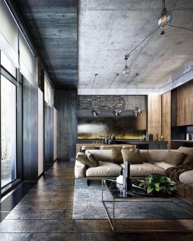 Элитные апартаменты в стиле серого лофта