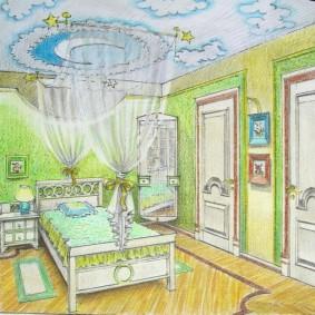 Эскиз детской спальни в зеленом цвете