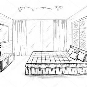 Проект спальной комнаты с телевизором на стене