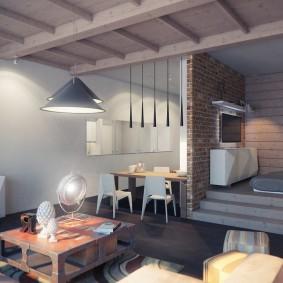 Дизайн квартиры с деревянным потолком