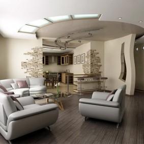 Двухуровневый потолок в квартире студийной планировки