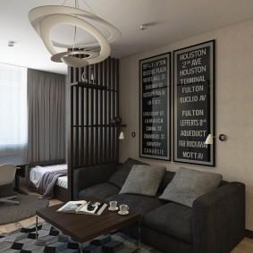 Декоративная перегородка в гостиной с кроватью