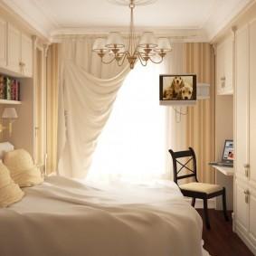 Интерьер небольшой спальни в стиле классики