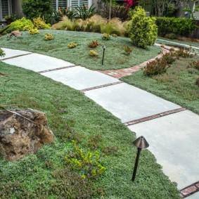 Бетонная тропинка в саду смешанного стиля