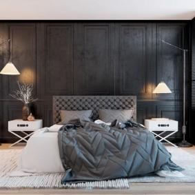 Стильный интерьер просторной спальни