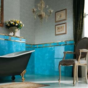 Чугунная ванна черного цвета в стиле прованс